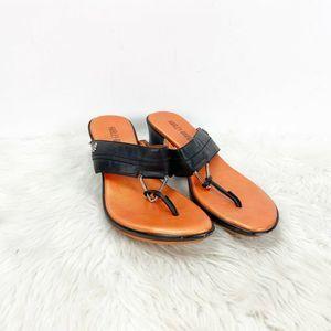 Harley Davidson Black Leather Wedged Thong Sandals